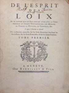 Montesquieu De l'Esprit des loix