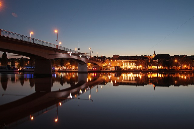 Paysage de nuit à Remich au Luxembourg