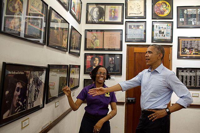 Visite de l'ancien Président américain Barack Obama du musée de Bob Marleyen Jamaïque
